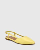 Edelpha Sunshine Yellow Leather Slingback Flat.