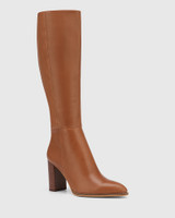 Hensley Tan Leather Block Heel Long Boot