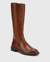 Denton Dark Brown Leather Round Toe Long Boot.