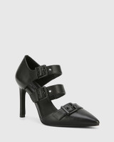 Hetika Black Leather Pointed Toe Stiletto Heel.