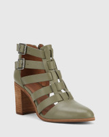 Radcliffe Utility Green Leather Strap Detail Block Heel Ankle Boot.