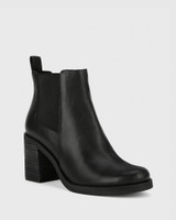 Tobey Black Leather Elastic Gusset Block Heel Ankle Boot.