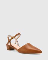 Aletta Dark Cognac Leather Pointed Toe Block Heel.