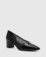 Lindell Black Patent Leather/Mesh Block Heel Pump.