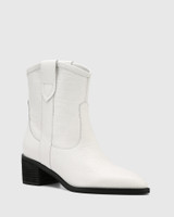 Jimmie White Leather Croc-Embossed Ankle Boot