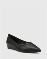 Almara Black Leather Pointed Toe Wedge Flat.