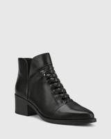 Jonny Black Leather Plaited Front Ankle Boot.