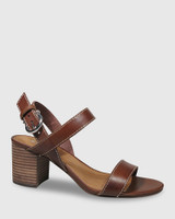 Neela Dark Brown Leather Contrast Stitch Sandal.