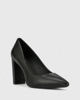 Hether Black Leather Pointed Toe Block Heel.