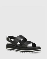 Tana Black Leather Slingback Flatform Sandal.