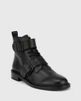 Braiden Black Leather Double Buckle Lace Up Ankle Boot.