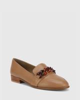 Haleida Taupe Leather Square Toe Trim Loafer.