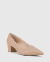 Gardenia New Flesh Leather Block Heel Pointed Toe Pump.