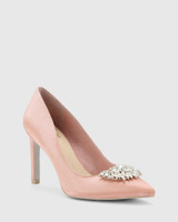 Henshaw Pink Satin Embelished Stiletto Heel.