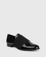 Dorina Black Patent Round Toe Slip On Loafer.