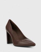 Hether Chocolate Leather Pointed Toe Block Heel.