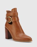 Halaya Dark Cognac Leather Block Heel Buckle Ankle Boot.