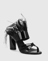 Rhiannon Black Patent Feather Open Toe Heel.