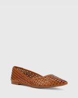 Prue Cognac Leather Perforated Pointed Toe Flat.