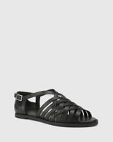 Jadore Black Leather Open Toe Flat Sandal.