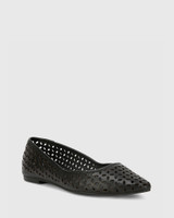 Prue Black Leather Perforated Pointed Toe Flat.