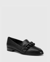 Haleida Black Leather Square Toe Trim Loafer.