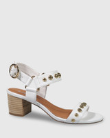 Alejandro White Leather Gold Stud Detail Block Heel Sandal.