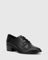Farris Black Leather Block Heel Brogue.