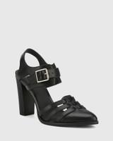 Winslow Black Leather Block Heel Almond Toe.