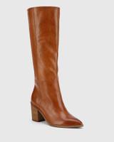 Preslee Cognac Leather Block Heel Long Boot.