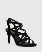 Remo Black Suede Leather Strappy Stiletto Heel Sandal.