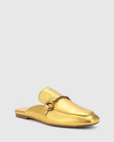 Lawson Gold Leather Gold Hardware Detail Flat Mule.