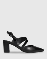 Devron Black Leather Pointed Toe Block Heel.