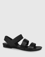 Lillis Black Leather & Elastic Flat Sandal.