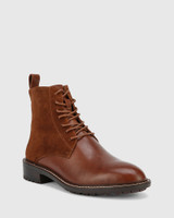 Dean Brown Suede Leather Lace Up Flat Boot.