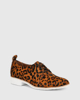 Jodi Leopard Print Hair-on Leather Lace Up Brogue