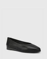 Coraline Black Perforated Leather Stack Heel Flat.