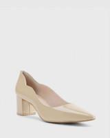 Lynn Honey Patent Almond Toe Block Heel.