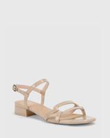 Brigita New Flesh Patent Leather Block Heel Sandal.