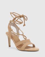 Ibitha Nude Weave Stiletto Heel Sandal.