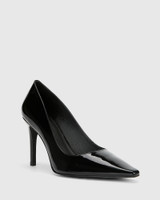 Hay Black Patent Leather Almond Toe Stiletto Heel .