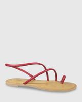 Flinton Red Leather Open Toe Flat Sandal.