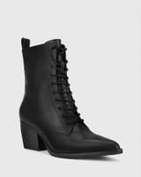 Kallie Black Leather Pointed Toe Lace Up Block Heel Ankle Boot.