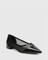Malyn Black Patent Mesh Cut Out Pointed Flat.