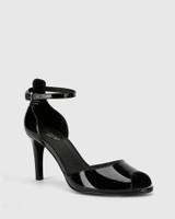 Inka Black Patent Leather Stiletto Heel Sandal.