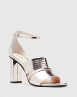 Rizzo Rose Gold Leather Open Toe Heel.