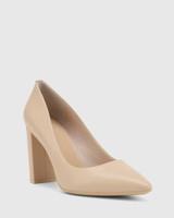 Hether Ecru Nappa Leather Pointed Toe Block Heel.
