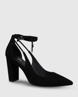 Hennessy Black Suede Ankle Wrap Block Heel.