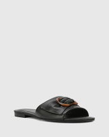 Cate Black Leather Open Toed Flat Sandal.
