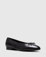 Annie Black Leather Toe Cap Detail Ballet Flat.